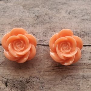 Resin Coral Flower Post Earrings
